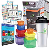 VALUE PACK Portion Control Containers (7 Piece) Kit With Protein Shaker Bottle and COMPLETE Guide + 21 DAY FIX MEAL PLANNER and Recipe Cookbook PDFs, Multi-Colored Coded Set, 100% Leak Proof!