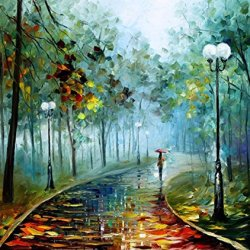 Leonid Afremov Fog Of Passion Palette Knife Handmade Modern Impressionist Art Oil Painting On Canvas, 36 By 30-Inch/90 By 75Cm