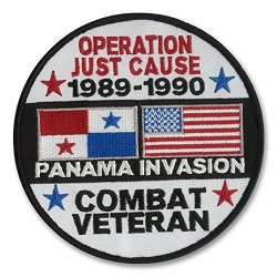 "4 1/2"" Diameter Embroidered ""Highly Detailed"" Operation Just Cause Patch (Panama Invasion 1989-1990) Wax Backing With Merrowed Edges"