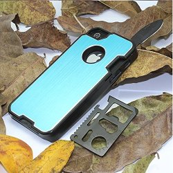 The Bop Wolf !!! Appbox Multifunction Knives Protective Hard Shell Case Mobile Phone Shell Protective Metal Shell For Iphone 5 / 5S -Blue