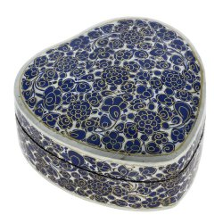 Handmade Paper Mache Heart Trinket Blue Box Decoration - Beautiful Indian Gifts, 6 Inches