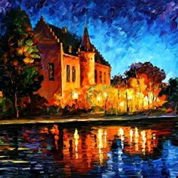 Knife Oil Painting Brussels, Castle Saventem 100% Hand Painted Unframed Art Painting On Canvas 40 X 30 In 100 X 75 Cm