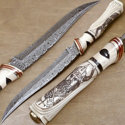 Custom Handmade Damascus Steel Hunting Knife - Gi-148