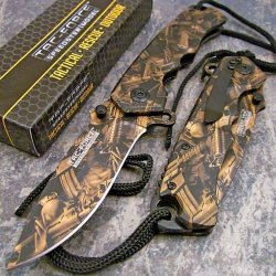 Tac-Force Machine Gun Camo Folding Flipper Pocket Knife