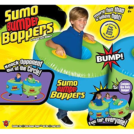 More fun than bumper cars or a pillow fight, our inflatable Sumo Bumper Boppers set has a fun, bop and sock design! Bop, sock and bump! Soft and safe fun for everyone! Age range: 4 Years + No batteries required. Contains one body bumper and one repai...
