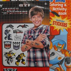 Bundle (T) - Transformers Rescue Bots 144 Page Coloring & Activity Book With Stickers Plus Transformers 75 Temporary Tattoos 8 Sheets.