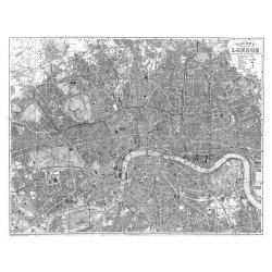 Swag Paper Swag Paper Map Of Victorian 1890 London Self-Adhesive Wallpaper, Black & White, Matte Self Adhesive Poly-Woven Fabric, 11W X 8.8H Ft.