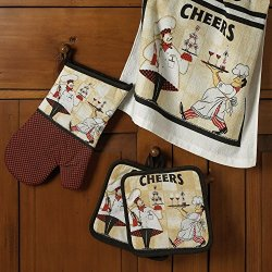 5-Piece Kitchen Linens Set Oven Mitt, 2 Kitchen Towels, And 2 Pot Holders (Cheers)