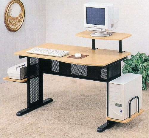 Picture of Comfortable Black and Beech Finish Computer Workstation (B000OSA3U0) (Computer Workstations)