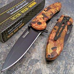 Tac Force Brown Jungle Camo Folding Pocket Knife New