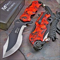 Mtech Ballistic Bowie Black Red Skull Camo Assisted Opening Pocket Knife