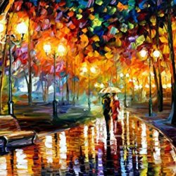 Hand-Painted Perfect Oil Paintings With Palette Knife On Canvas Modern Art Living Room Furniture (Rain' Rustle) - 40 X 24 Inch , Unframed