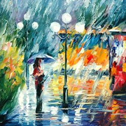 100% Diy Oil Painting,Unframed High Quality Oil Painting Knife Oil Painting With Night Trolley On Canvas 24 X 30 In 60 X 75 Cm