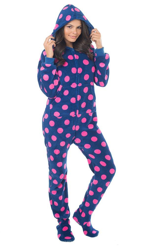 Footed Pajamas Pattern Footed Pajamas Navy Pink Polka