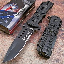 Usmc Marines Black Assisted Opening Tactical Rescue Folding Pocket Knife