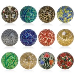 Hanging Decor For Christmas Tree Handmade Paper Mache Ball Ornaments 3 Inch Set Of 12
