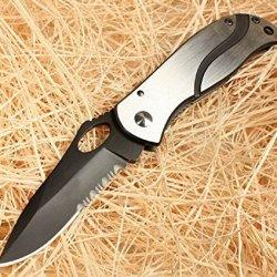 Swtooth Rescue Black Pocket Folding Strap Holder Knife Glby6490-6.61''