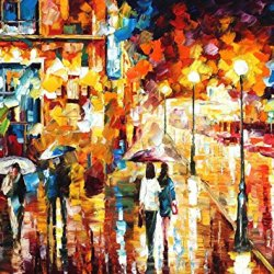 Palette Knife Canvas For Home Decoration,City Dreams Wall Art 30 X 24 In Unframed