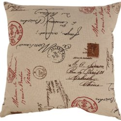 Pillow Perfect Linen/Red French Postale 23-Inch Floor Pillow