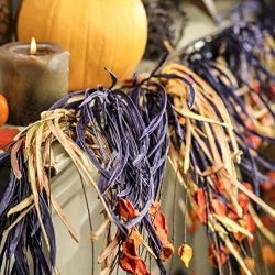 Purple And Orange Festive Paper Halloween Garland Very Flowing And Full