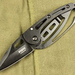 Black Skeleton Design Edc Pocket Folding Knife With Box, Can Use As Keychain/ Keyring