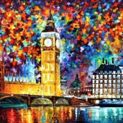 Leonid Afremov Big Ben, London Palette Knife Handmade Modern Impressionist Art Oil Painting On Canvas, 40 By 30-Inch/100 By 75Cm