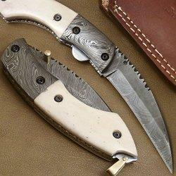 Superb Handmade Damascus Steel Folding Pocket Knife (Liner Lock) Gi-105