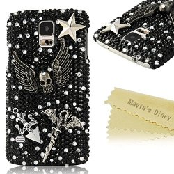 Mavis'S Diary 3D Handmade 3D Bling Black Crystal Sparkle Glitter Skull With Wings Metal Dagger Case Hard Cover For Samsung Galaxy S5 I9600 Sm-G900A Sm-G900T Sm-G900P Sm-G900V Sm-G900R4 Developer Edition With Soft Clean Cloth