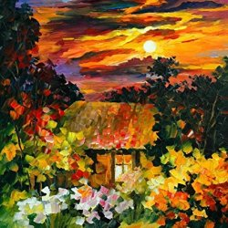 100% Oil Painting Unframed Small House Under Flower Home Decoration Modern Knife Paintng On Canvas 24X28In/60X70Cm