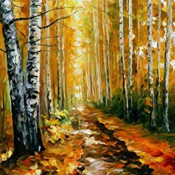 Autumn Birches Palette Knife Oil Painting On Canvas Wall Art Deco Home Decoration 30 X 36 In Unframed