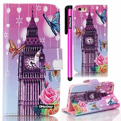Oksobuy® Apple Iphone 6 Plus Case Iphone 6 Plus (5.5 Inch) Case High Quality And Durable Fashion Luxury Designer Big Ben Pu Leather Wallet Type Magnet Bracket Combo Case Cover With Credit Card Holder Slots Fit For Apple Iphone6 Plus (Apple Iphone 6 Plus C
