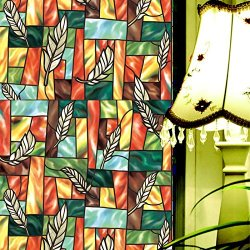Fancy-Fix Vinyl Static Cling Privacy Stained Glass Decorative Window Film (36 Inches(Width) X 60 Inches(Length))