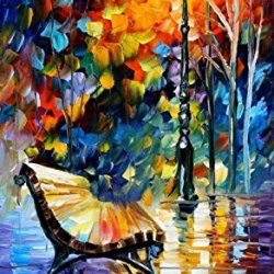 Lonely Bench Oil Paintings Modern Canvas Wall Art Decor For Home Decoration Palette Knife On Canvas 20 X 36 In Unframed