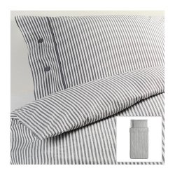 Beautiful White And Gray Striped Pattern Duvet Cover And Pillowcases Twin Size Ikea Nyponros