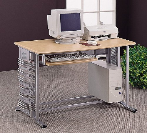 Picture of Comfortable All new item Brushed aluminum finish computer desk with wood top (B0014B7C96) (Computer Desks)
