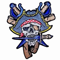 Pirate Skull Head With Blue Pirates Hat And Crossed Swords With Dagger Knife In Mouth - Novelty Embroidered Biker Jacket Patch - Iron On Backing Or Sew On