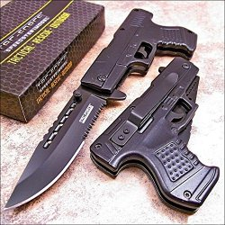 Tac-Force Black Pistol Shaped Folding Pocket Flipper Knife!
