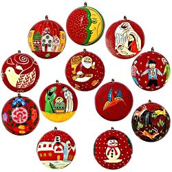 Set Of 12 Bright Red Paper Mache Valentine Ornaments Handmade In Kashmir, India, 3 Inches