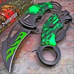 Zombie Hunter Toxic Green Flaming Skull Camo Knife New!