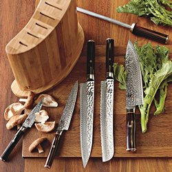 Shun Hiro 7-Piece Knife Knives Block Set Exclusive Hammered Design