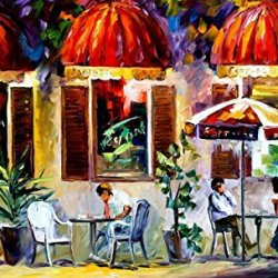 Espresso Paris Oil Paintings Modern Canvas Wall Art Decor For Home Decoration Palette Knife On Canvas 40 X 24 In Unframed