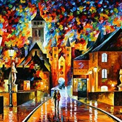 Decorative Room (Unframe And Unstretch) 100% Hand-Painted Palette Knife Oil Painting On Canvas,Night In The Old City,40 X 30 Inch (100Cm X 75Cm)