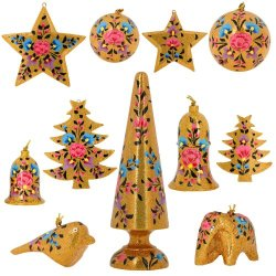Set Of 11 Gold Floral Paper Mache Valentine Ornaments - Handmade Indian Gifts