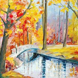 Walk On Bridge Art Wall Decorative Canvas Knife Paintng On Canvas 32X24In/80X60Cm Unframed