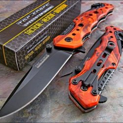 Tac Force Assisted Opening Red Camo Tactical Rescue Folding Pocket Knife