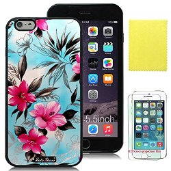 Soloshow® Apple Iphone 6 Plus 5.5 Inch Case Beautiful Fashion Hawaiian Flowers Case With Slim Fit Case Advanced Shock Absorption Protection + Screen Protector For Apple Iphone 6 Plus 5.5 Inch (Black Tpu &Hot Pink Hawaiian Flowers )