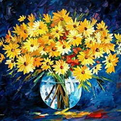 Yellow On Blue Art Wall Decorative Canvas Knife Painting On Canvas 30 X 24 In 75 X 60 Cm Unframed