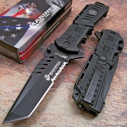 Usmc Marines Assisted Open Tactical Tanto Black Rescue Pocket Knife New