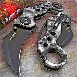 Zombie Hunter Grey Skull Camo Hawkbill Pocket Knife New