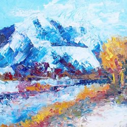 Modern Knife Paintng Painting Frozen Mountain Wall Decor Superb Paintings On Canvas 30X36In/75X90Cm Unframed